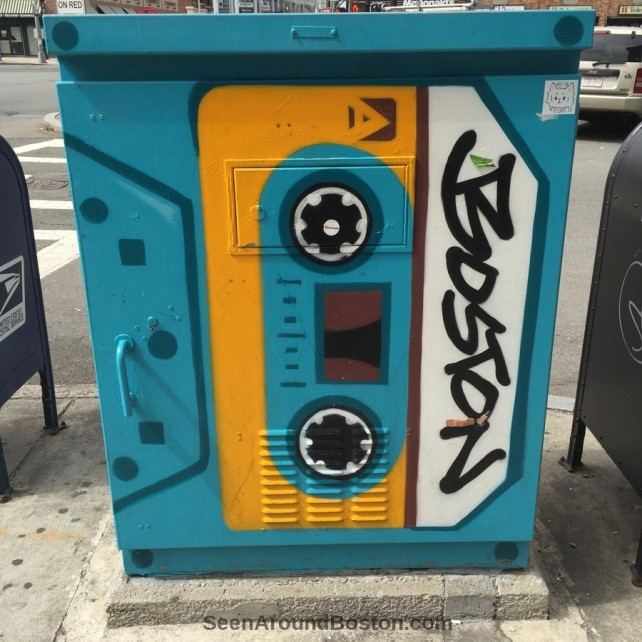cassette tape painted traffic control box, great scott allston