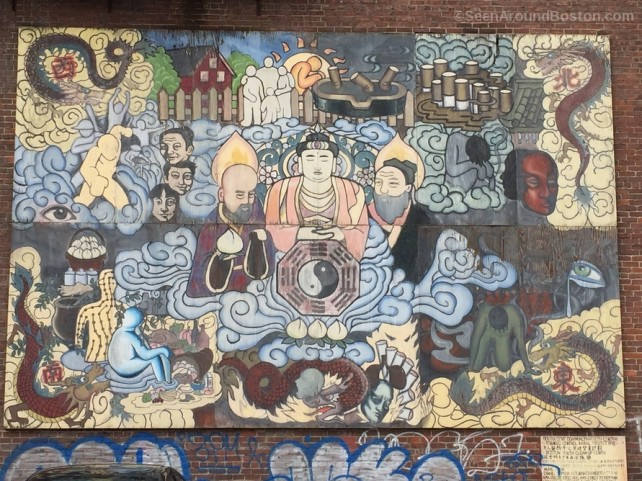 buddha wall mural, chinatown boston