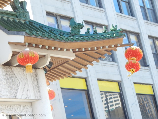 detail view of boston's chinatown gate