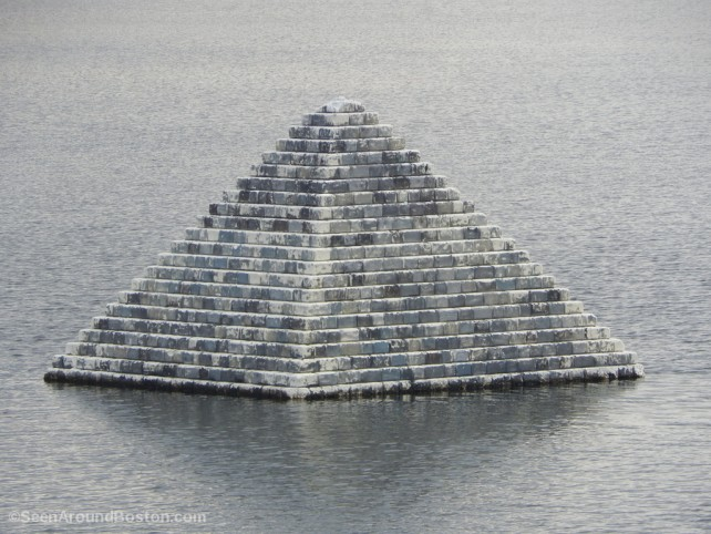 close up of floating pyramid in boston by don eyles