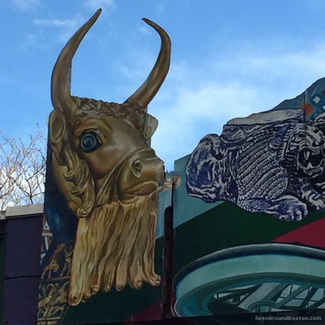 golden bull at the middle east, street art cambridge massachusetts