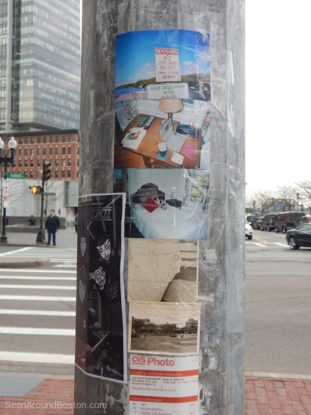 random photos on a telephone pole, boston street art