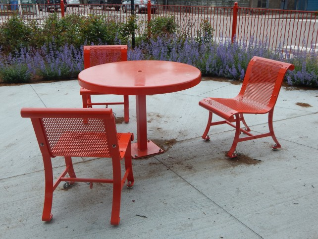 orange patio table and chair set
