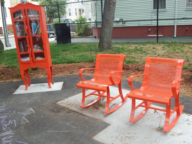 patio rocking chairs and book case, hampshire street cambridge