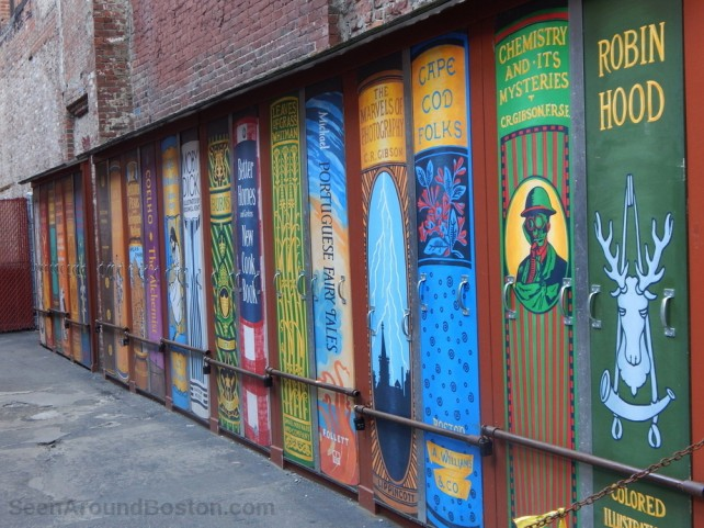 bookshelf painted wall at brattle book shop, downtown boston
