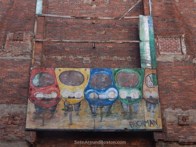parked cars mural by buchman, downtown boston