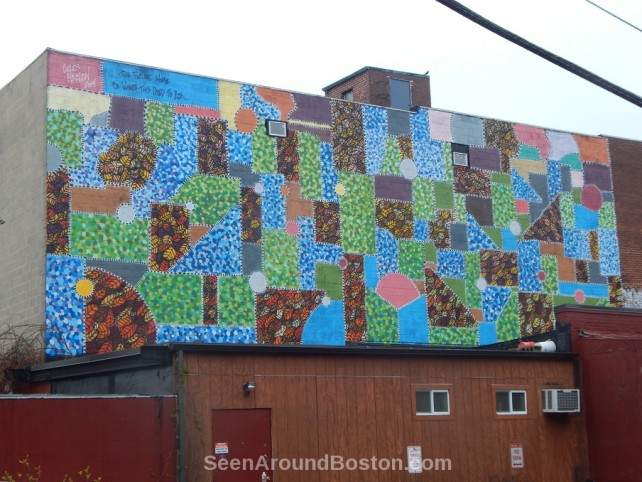 caleb neelon patchwork quilt mural, brookline street cambridge