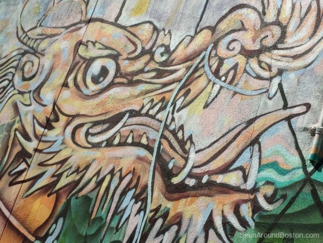 chinese dragon mural, street art chinatown boston
