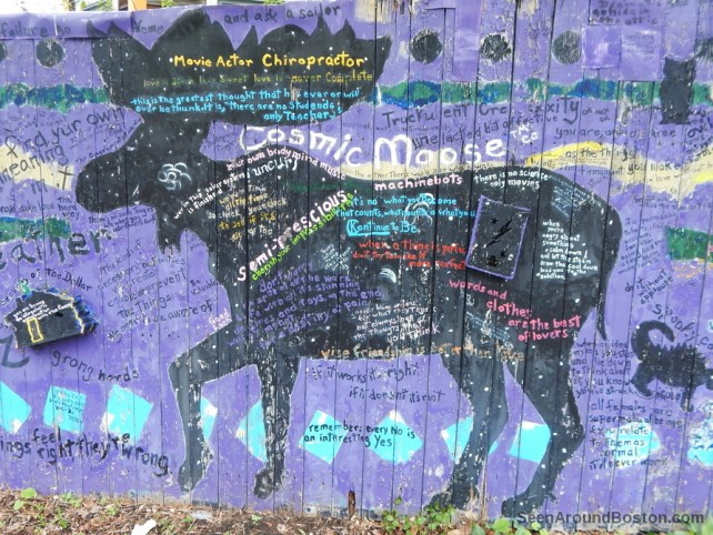 cosmic moose on purple painted fense, cambridge street art