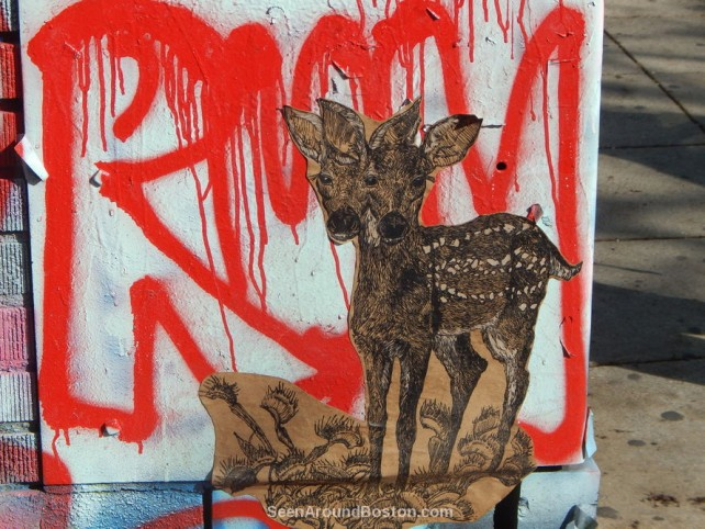 deer fawn wheat paste tag