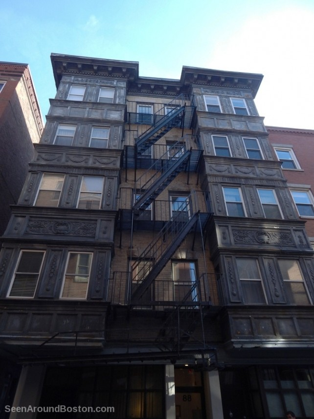 funky old apartment building, fire escape, north end boston