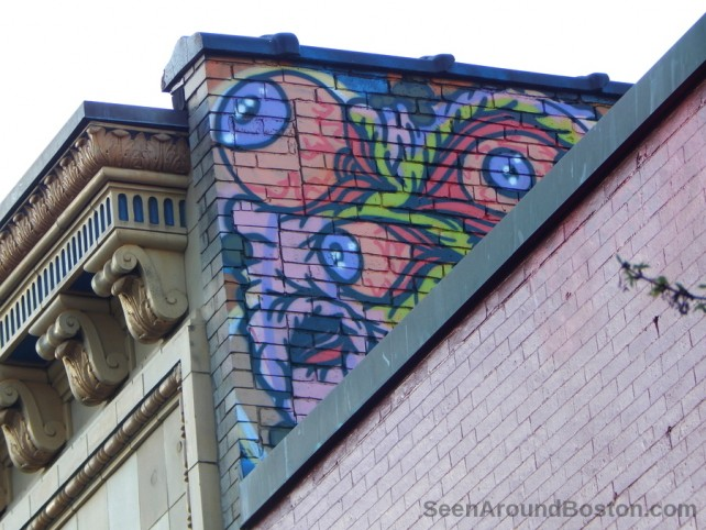 monster eyes rooftop mural, street art cambridge