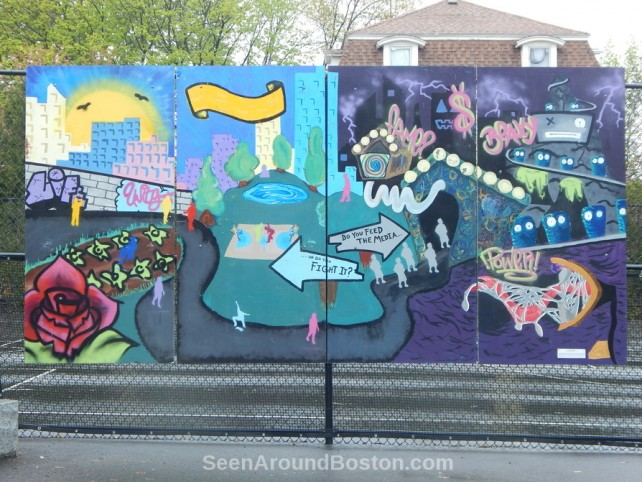 art mural in old morse park, cambridge, massachusetts
