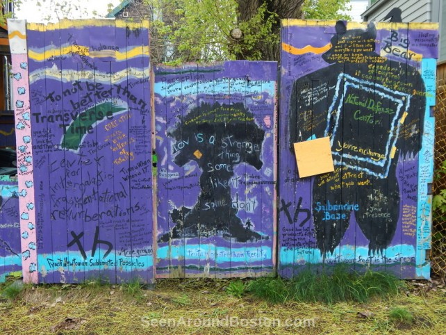 painted panels on purple fence, cambridge ma