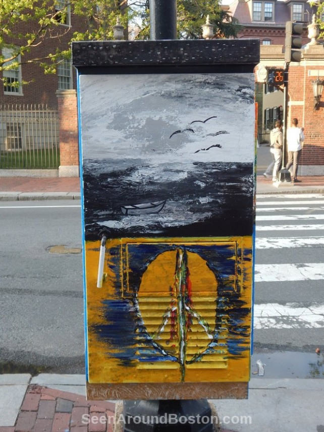 seascape and peace sign street art harvard square