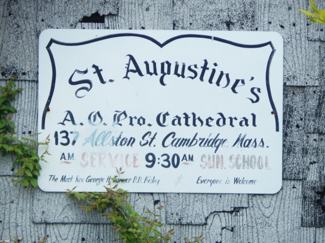 st augustines african orthodox pro cathedral sign with service schedule