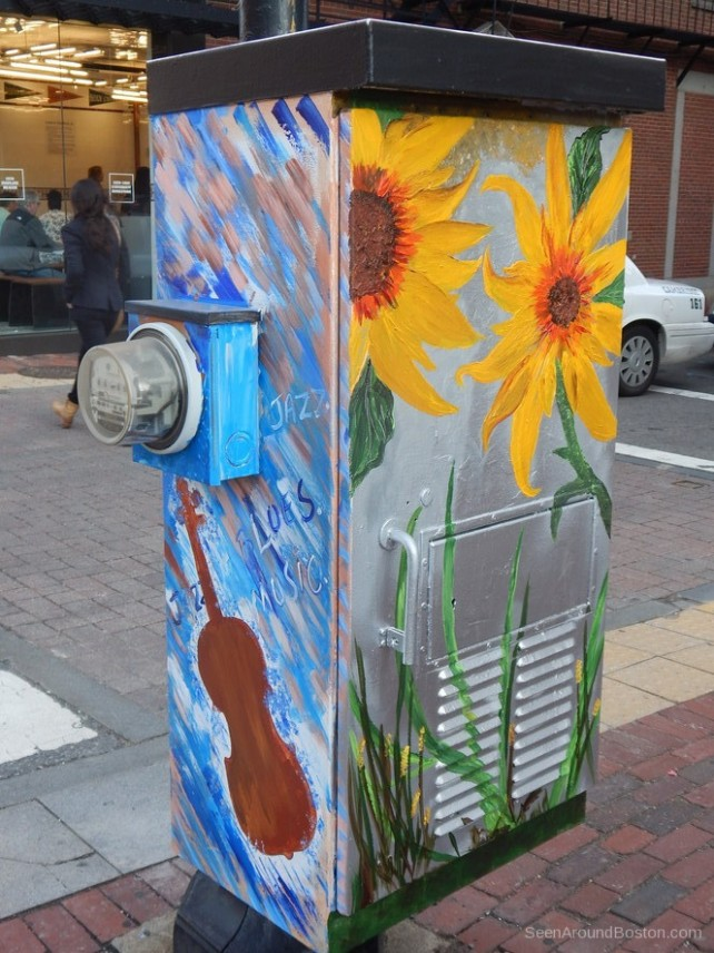 sunflowers and violin painted switch box