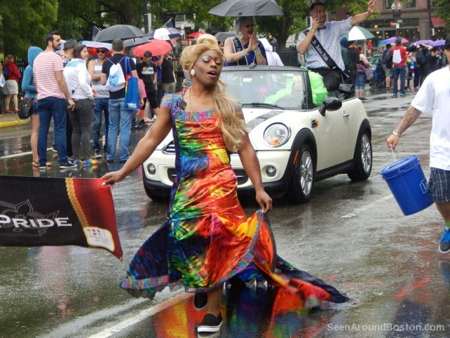 drag queen in a colorful dress, boston pride parade