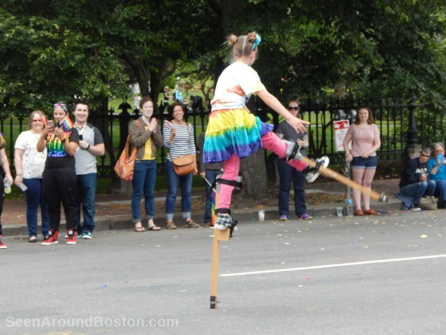 boston gay pride parade, girl on stilts