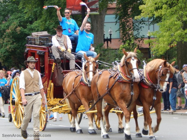 wells fargo stagecoach with horses, 2016 boston pride parade