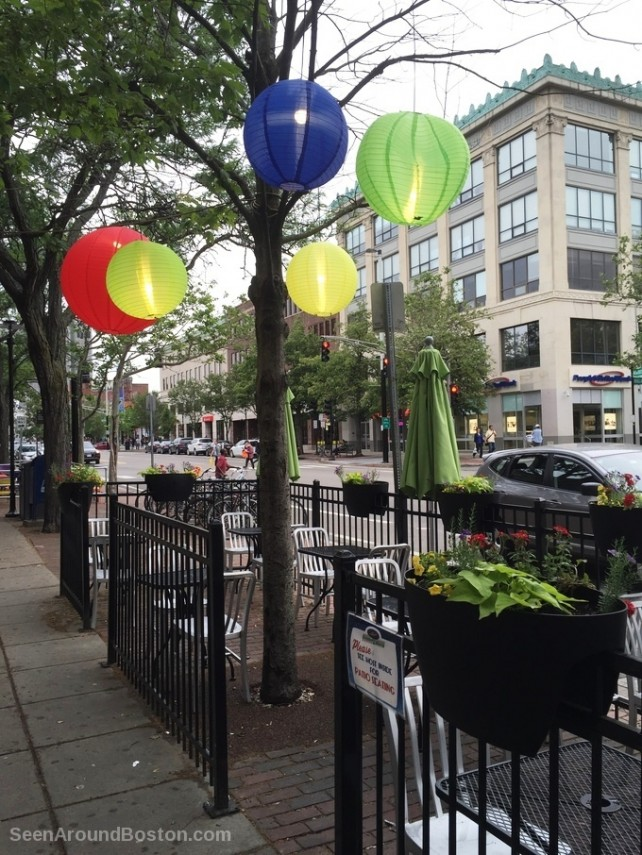 lanterns at sidewalk cafe, central square cambridge massachusetts