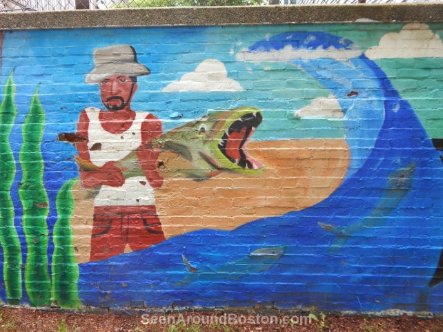 mozart park mural fisherman, jamaica plain boston
