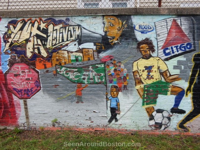 mozart park mural, youth activism and citgo sign, boston