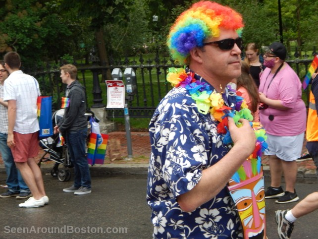 rainbow wig man at boston gay pride parade