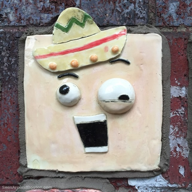 sombrero man, clay tile art at cambridgeport school