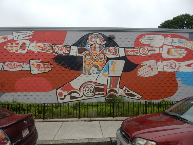 taino mother goddess mural, jamaica plain boston