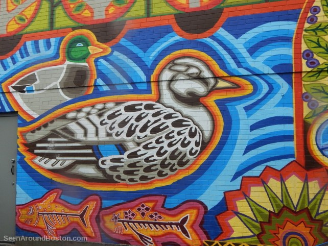 ducks on purple cactus mural, jamaica plain boston