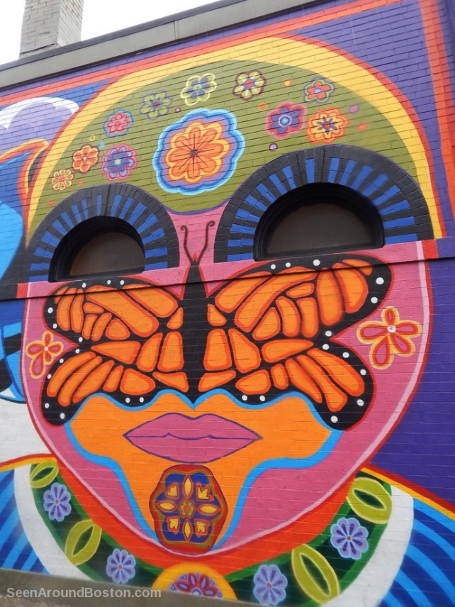 butterfly, face, nieli ka mural at purple cactus